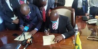 Nairobi County Finance Executive Allan Igambi and Acting Governor Benson Mutura