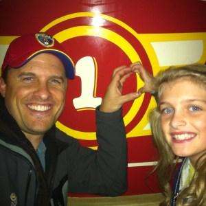 "NAM Miss Utah Preteen Rachel Wright and her Dad make the ""10"" sign at Disneyland."
