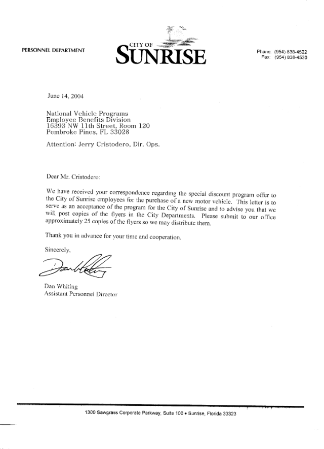 Acceptance Letter from the Sunrise, Florida Personnel Department