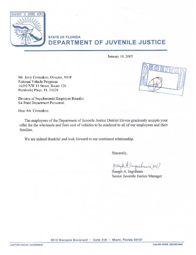 Fla Dept. of Juvenile Justice Acceptance Letter