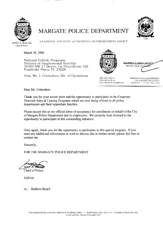 Margate Police Department Enrollment Letter