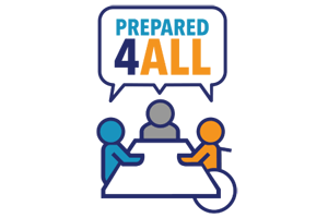 The Prepared4ALL logo shows three figures sitting at table. Together, they say Prepared4ALL, shown in a speech bubble.