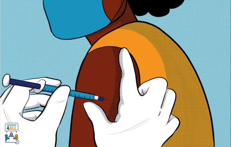 image description: cartoon drawing of a Black woman wearing a blue facemask and orange shirt getting the COVID-19 vaccine.