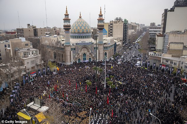 Iranians take part in an anti-US rally in Tehran, Iran on Saturday