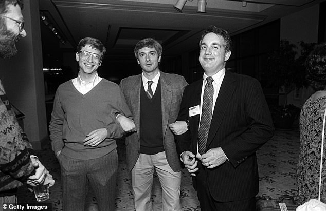 Bill Gates, left, is pictured with Jerrold Kaplan and Mitchell Kapor at an annual conference in Naples, Florida in 1988. Gates was allegedly often inebriated at tech events and after-parties and 'got drunk pretty easily'