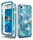 Hasaky Case for Apple iPhone 8 Case,iPhone 7 Case,iPhone SE 2020 Case,iPhone 6s/6 Case,Dual Layer Navy Blue Marble Design TPU+PC Heavy Duty Anti-Scratch Shockproof Protective Phone Case - Blue/Marble.