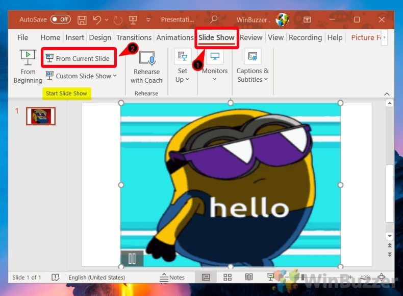 Windows 10 - PowerPoint - Insert Images - Slide Show - From Current Slide