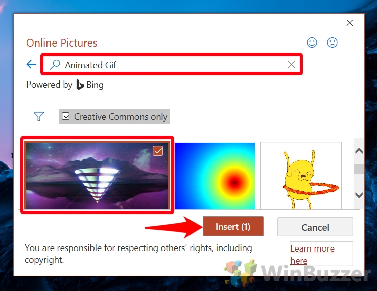 Windows 10 - PowerPoint - Insert - Images - Pictures - Online Pictures - Look for Animated Gif in Search Box - Insert