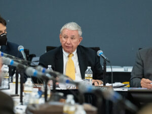 Photo of UW System President Tommy Thompson speaking at Octo. 7, 2021, Board of Regents meeting hosted by UW Oshkosh