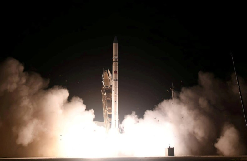THE OFEK-16 satellite is shot into space in central Israel, July 6, 2020.  (credit: Defense Ministry Spokesperson's Office/Handout via Reuters)