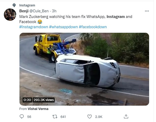 Another tweet depicted Zuckerberg as a workman recovering an overturned car. The post above the image read: 'Mark Zuckerberg watching his team fix Whatsapp, Instagram and Facebook'