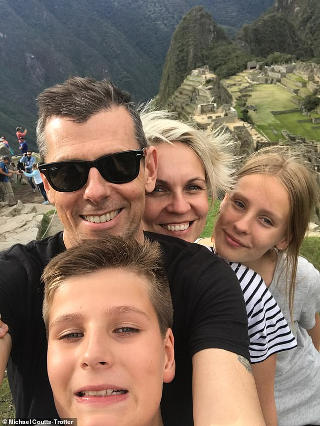Happy family: Mr Coutts-Trotter is pictured with his wife Tanya Plibersek and their children Anna and Joe in Peru