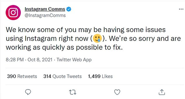 Instagram's communications Twitter account write: 'We know some of you may be having some issues using Instagram right now. We're so sorry and are working as quickly as possible to fix.'