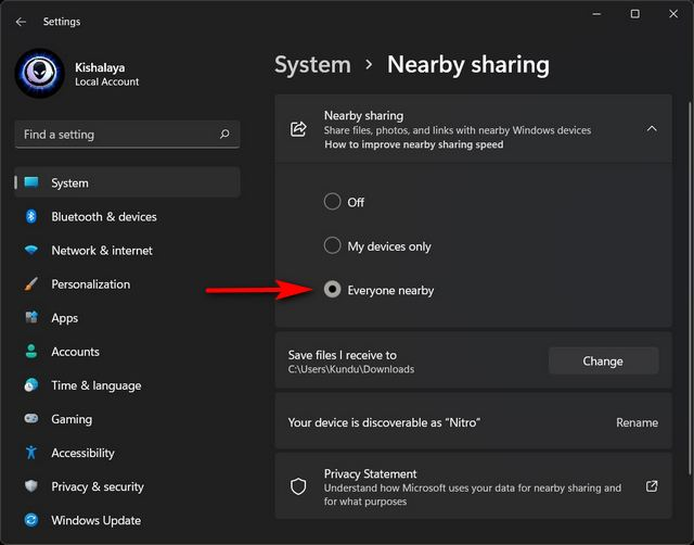 Enable Nearby Sharing on Windows 11
