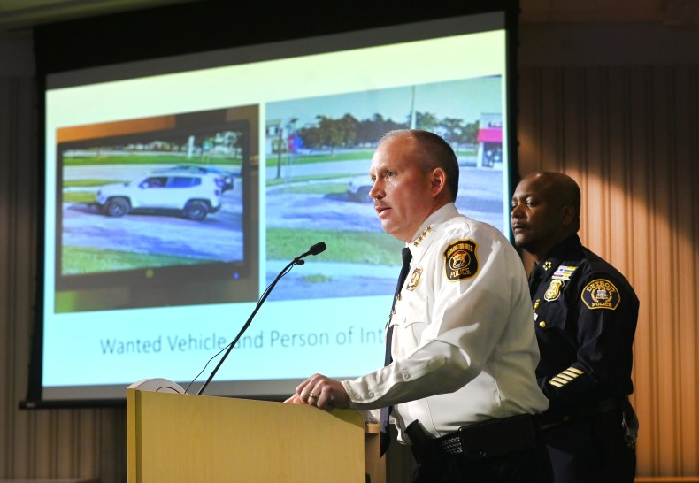 Farmington Hills Police Chief Jeff King (left) and Detroit Police Chief James White speak during a news conference in Detroit on Wednesday, Oct. 13, 2021 about a suspect accused of abducting and sexually assaulting a Farmington Hills girl on Sunday.
