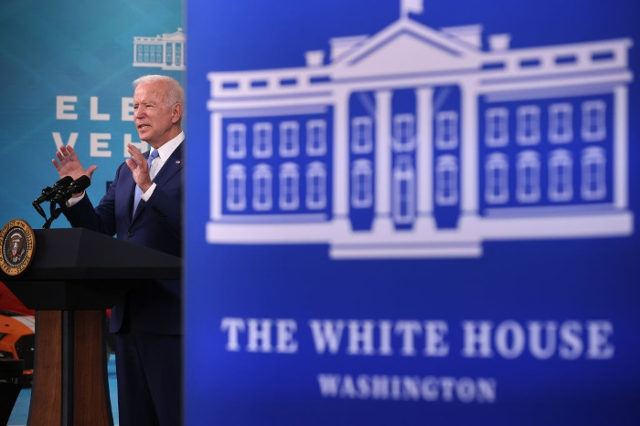 President Joe Biden delivers remarks on the September jobs numbers in the South Court Auditorium in the Eisenhower Executive Office Building.