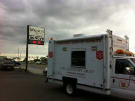 Salvation Army truck sitting in front of Bearscat Bakehouse in Bismarck, ND.