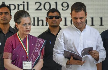 New Delhi: Congress President Rahul Gandhi and senior party leader Sonia Gandhi during the release of party's manifesto for Lok Sabha polls 2019