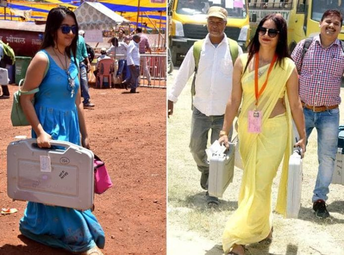 YELLOW-AND-BLU--SAREE-WOMEN-VIRAL-IN POLLING