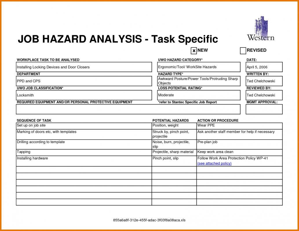 Job Safetyysis Worksheet Worksheets For School