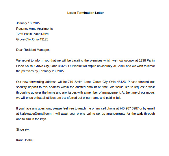 Sample Lease Termination Letter Fieldstation Co
