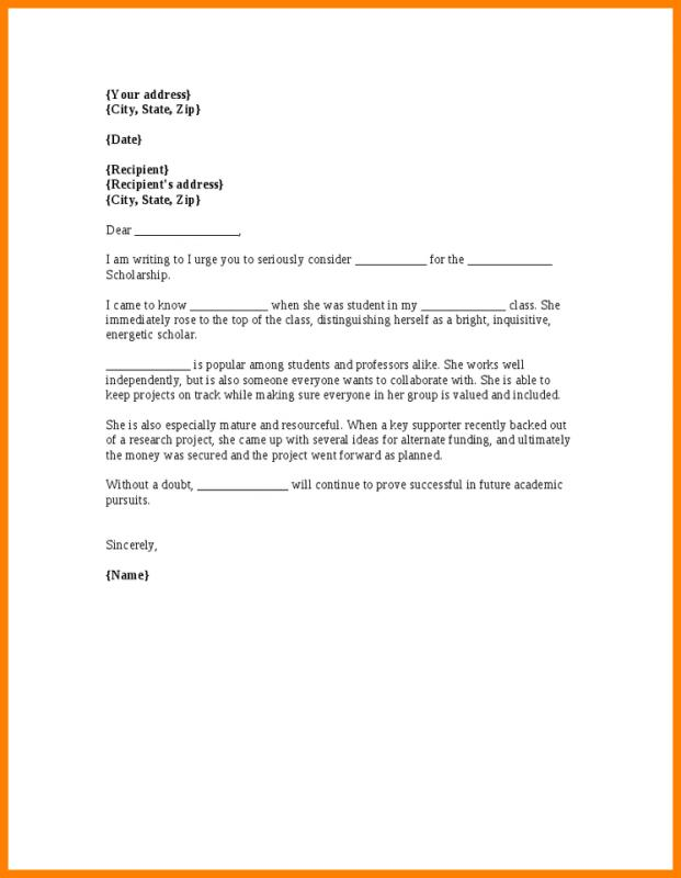 How To Write A Letter Of Recommendation For Scholarship Example