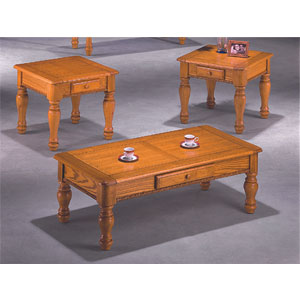 3 pc pack oak coffee end table set 2904 wd