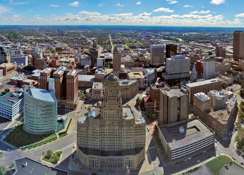 Aerial photo of Buffalo, NY Skyline