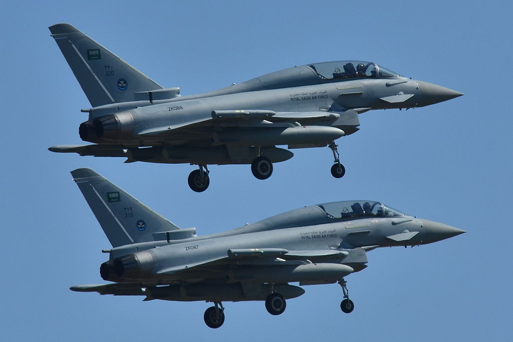 Eurofighter EF-2000 Typhoons of the Royal Saudi Air Force. Wikimedia Commons/Creative Commons/Laurent Errera
