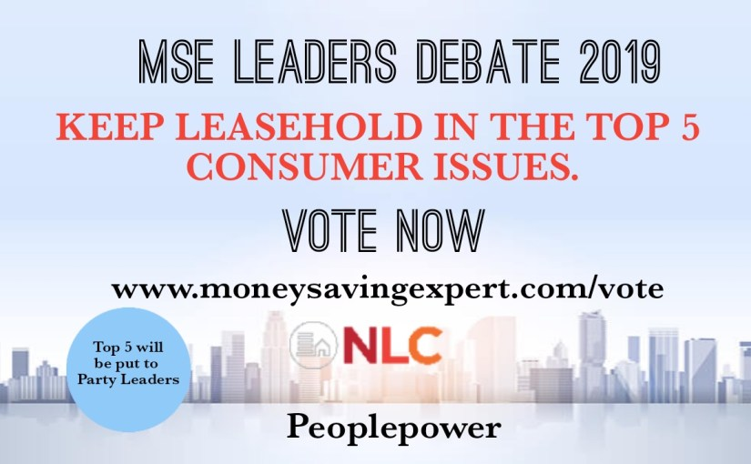 MONEY SAVING EXPERT (MSE) RAISES KEY CONSUMER ISSUES TO PARTY LEADERS.  VOTE NOW