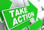 Take Action on Green Direction Arrow Sign.