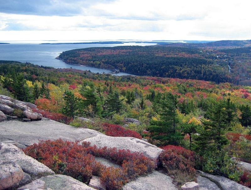 View for Cadillac Mountain with fall colors