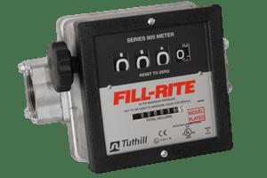 "Fill-Rite 901CLN1.5 1.5"" Nickel Plated 4 Wheel Mechanical Liter Meter"