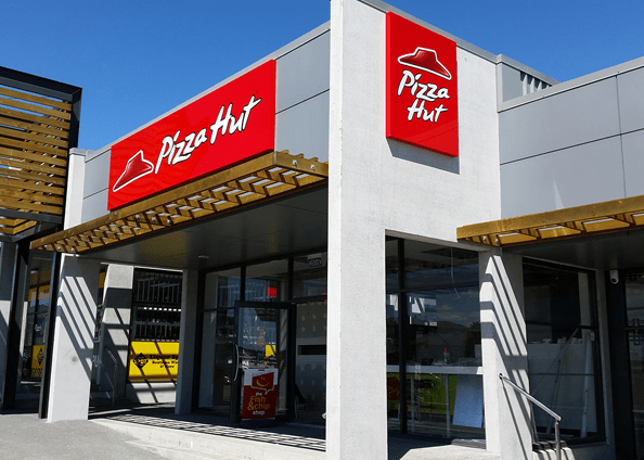 pizza hut corporate signage lightbox fascia led illuminated