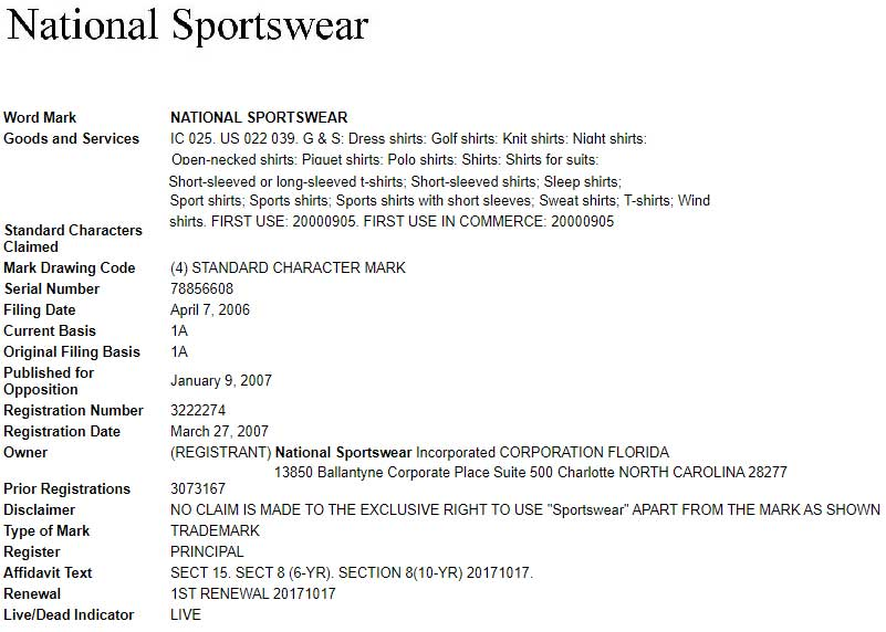 trademark for national sportswear clothing