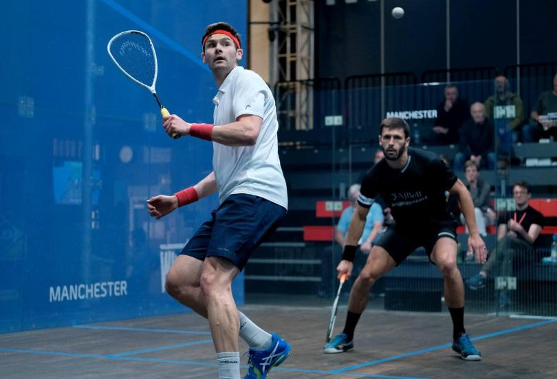 Adrian Waller (left) in action against George Parker (right)