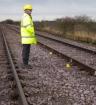Rail worker re-enactment of site saftey position