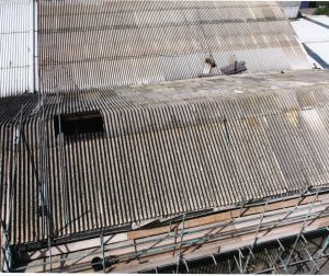 Fragile asbestos roof where workers fell