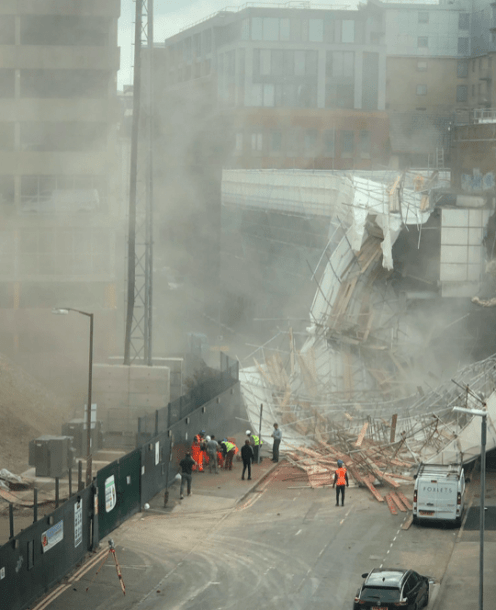 Firefighters on scene of collapse