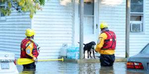 flooded town rescue teams