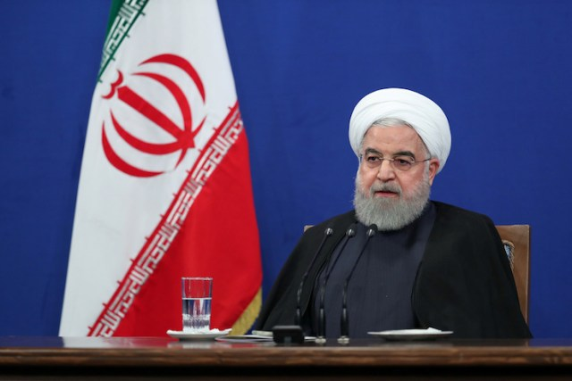 Iranian President Hassan Rouhani speaks during press conference in Tehran