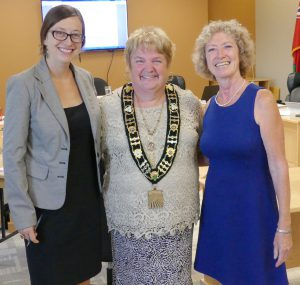 South Dundas Mayor Evonne Delegarde with Gananoque Economic Development Officer Shelley Hirstwood (left) and Anne-Marie Koiner, Deputy Clerk/Deputy Treasurer of the Village of Westport, after their Sept. 6 presentation in Morrisburg. Zandbergen photo, Nation Valley News