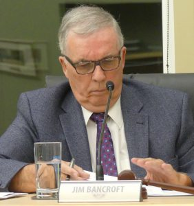 South Stormont Mayor Jim Bancroft, at the Sept. 28 Council meeting following the news of the Upper Canada District School Board's proposal to close two schools in his township. Zandbergen photo, Nation Valley News
