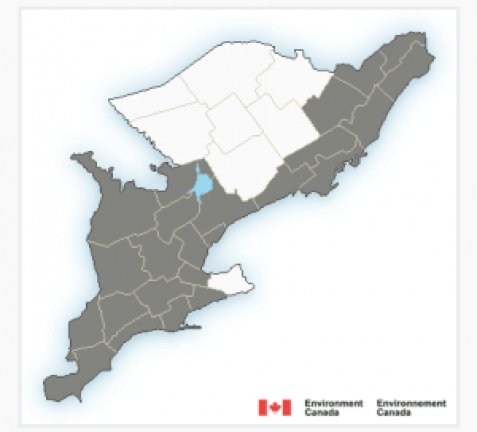 The grey areas on this Environment Canada Map show the potential for frost in much of the province tonight.