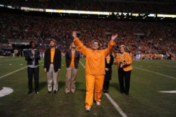 Rosemarie Hauch is acknowledged by University of Tennessee spectators as a Hall of Fame inductee, in 2009. Facebook photo
