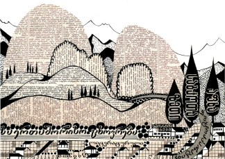 Adolf-Hoffmeister--Abkhazian-Viticultural-Landscape-on-the-Shore-(from-the-cycle-Typographic-Landscapes-from-the-Caucasus)--1959.-Newspaper-collage--india-ink--paper_900