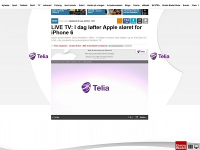 Ekstra Bladet og Telia partnership screendump