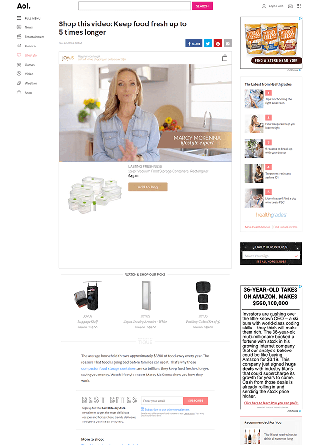 Native Ecommerce Ad solutions example