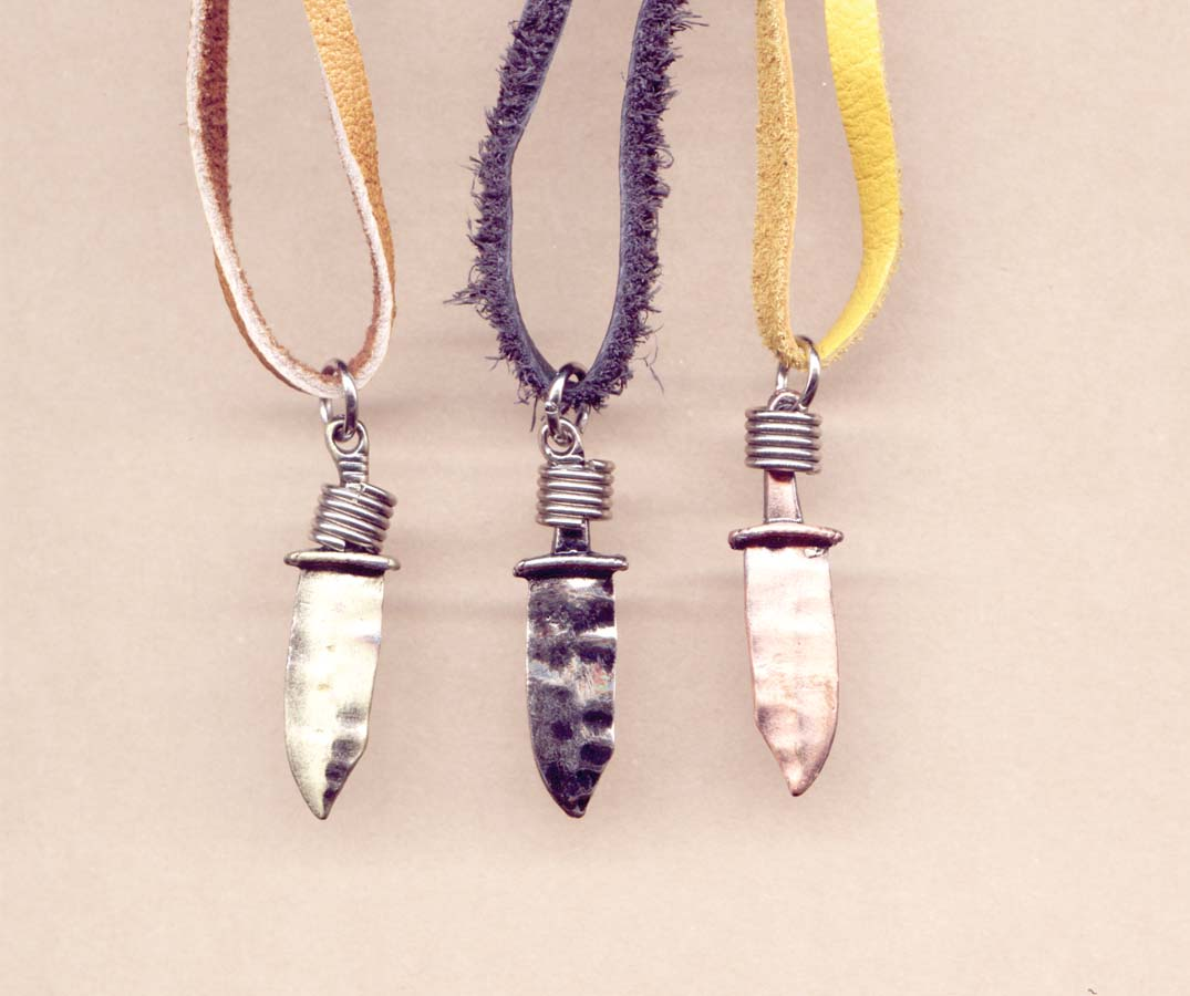 Copper Pewter /& Brass Charm Necklace
