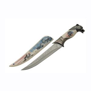 Wolf Head Handle Knife With Wolf Sheath